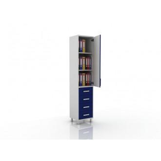 Шкаф для документов (глухая дверца сверху, снизу три ящика) 105-001-15 в Казани