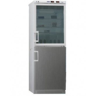 Холодильник фармацевтический двухкамерный ХФД-280(ТС) (140/140 л) с дверью из металлопласта и с тонированной стеклянной дверью серебряного цвета в Казани